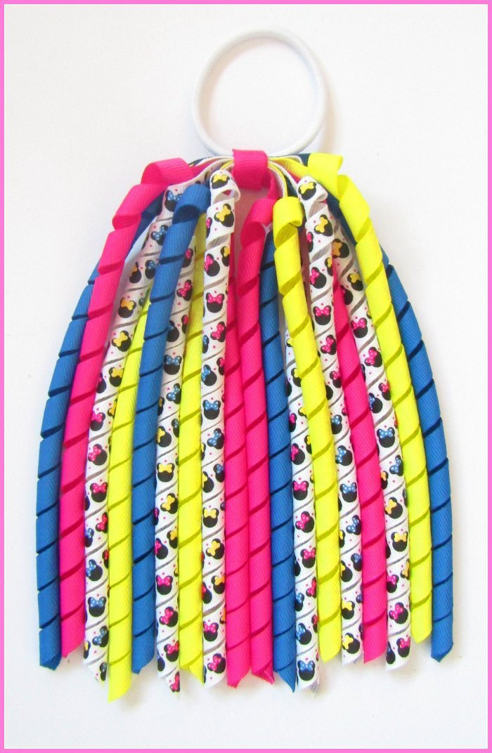 Bright Pink Electric Blue Pineapple Minnie Mouse Korker Ponytail Streamer