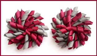 Burgundy Dark Grey Korker Hair Bows