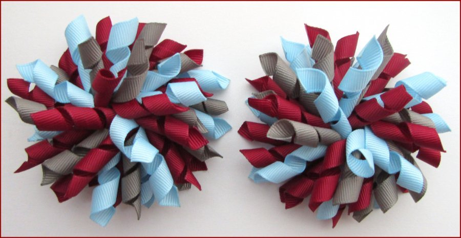 Burgundy Grey Light Blue Korker Hair Bows