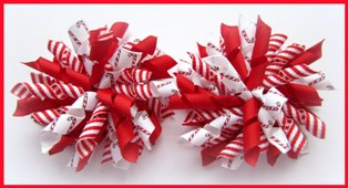 Christmas Candy Cane Stripe Korker Hair Bows