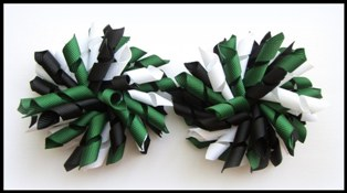 Dark Green Black White Korker Hair Bows