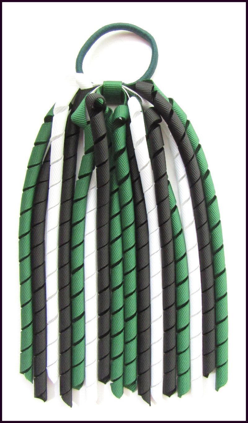 Dark Green Black White Korker Ponytail Streamer