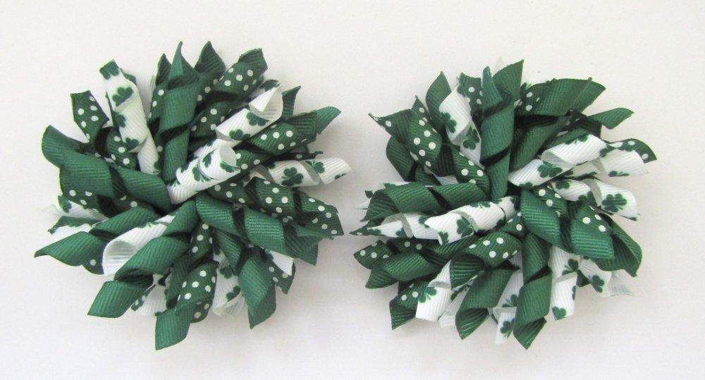 Dark Green Shamrock Clover Dot St Patrick's Day  Korker Hair Bows
