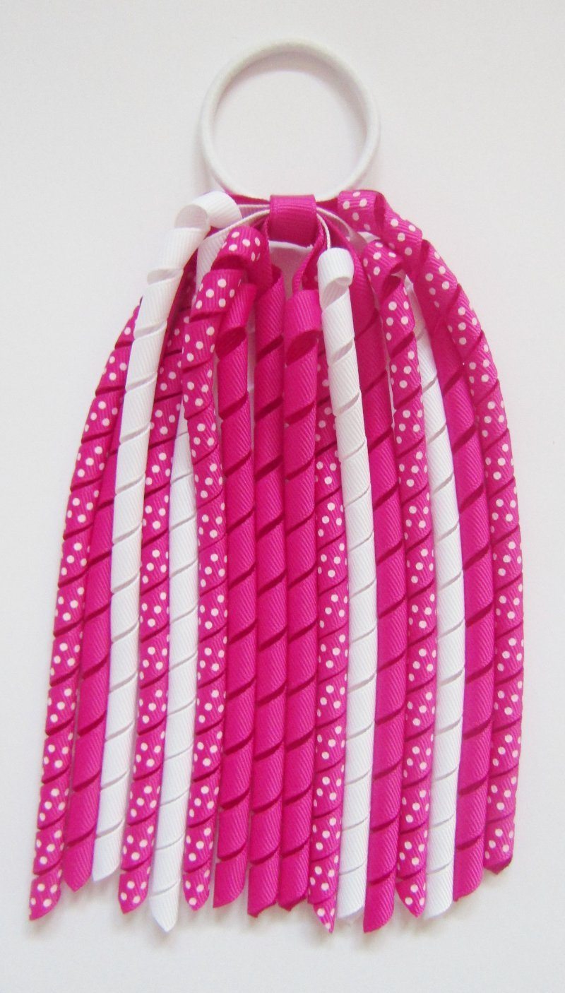 Dark Pink Dot Korker Ponytail Streamer