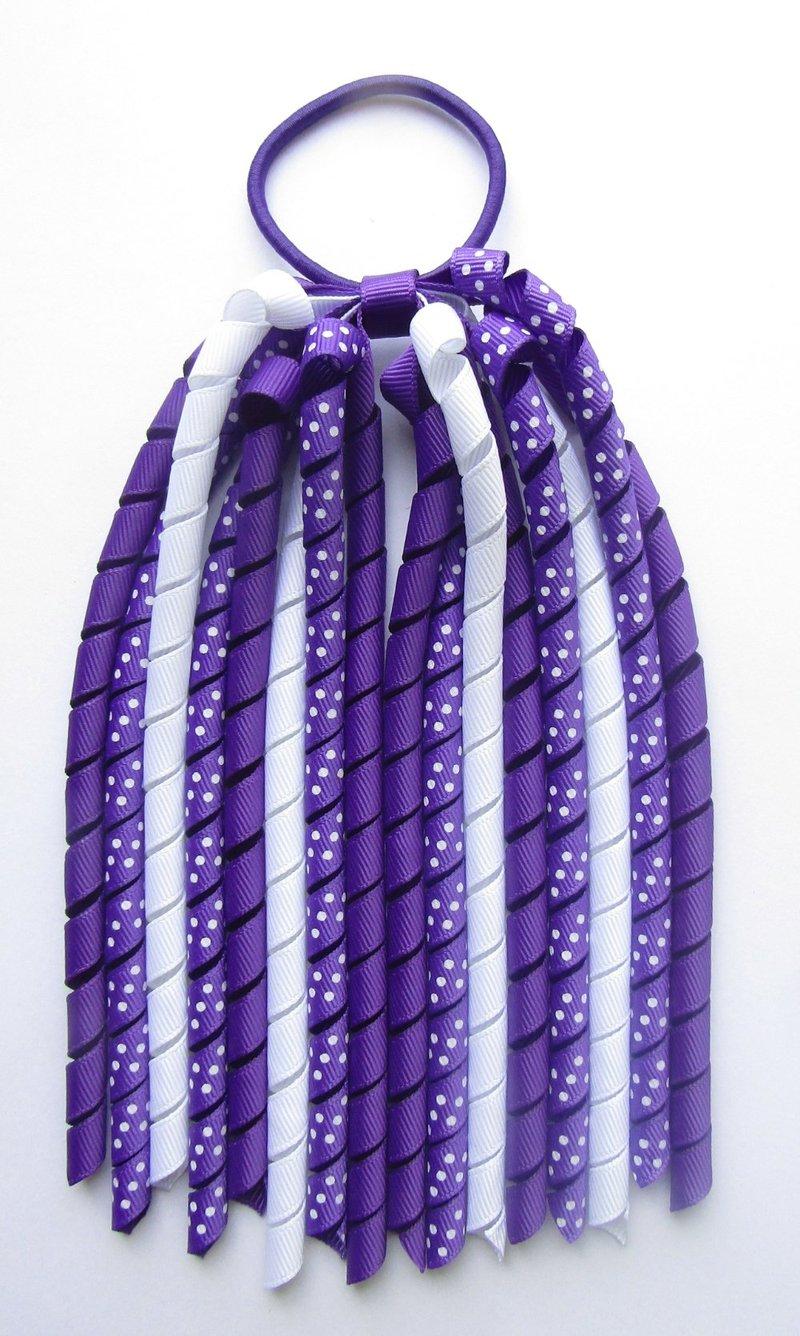 Dark Purple Polka Dot Korker Ponytail Streamer