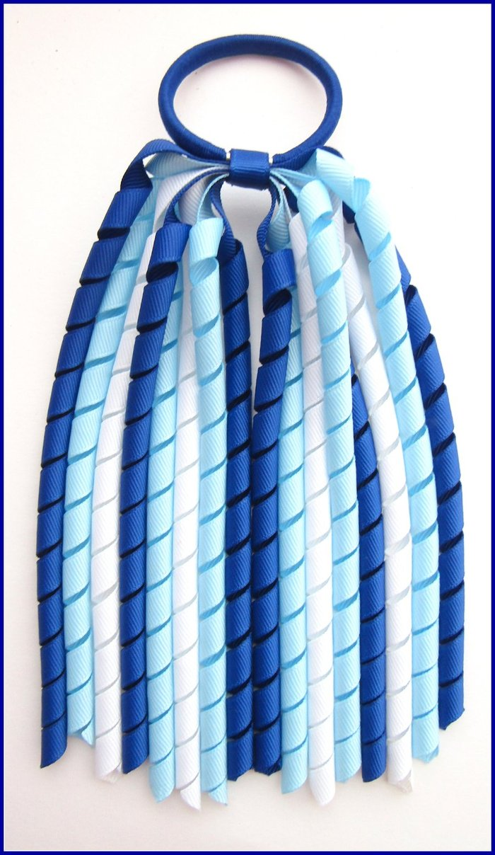 Dark Royal Light Blue White Korker Ponytail Streamer