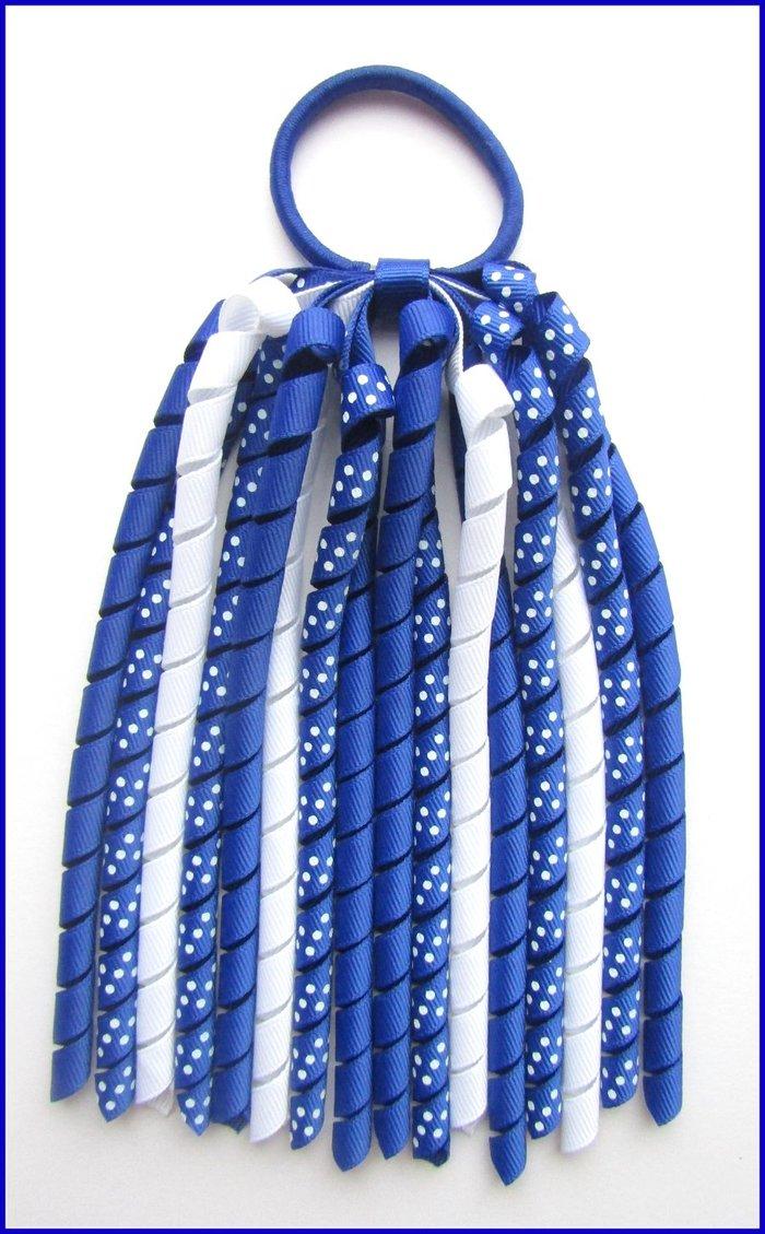 Dark Royal Blue Polka Dot Korker Streamer