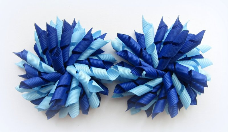 Dark Royal Blue Bright Blue Korker Hair Bows