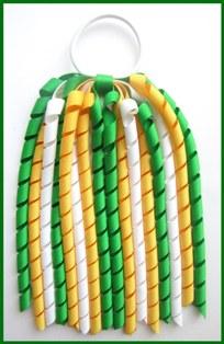 Emerald Green Yellow Gold White Korker Ponytail Streamer