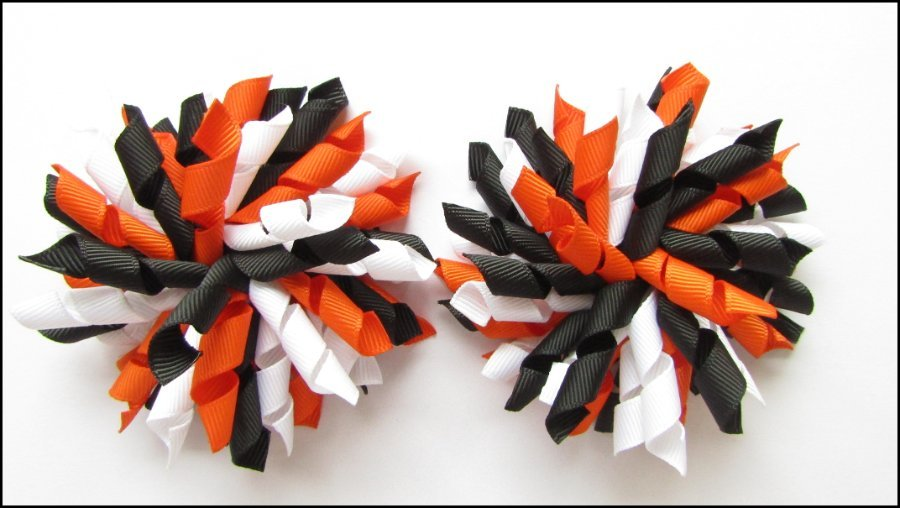 Orange Black White Korker Hair Bows