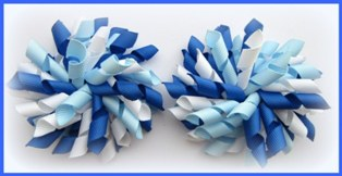 Light Royal White Blue School Korker Hair Bows