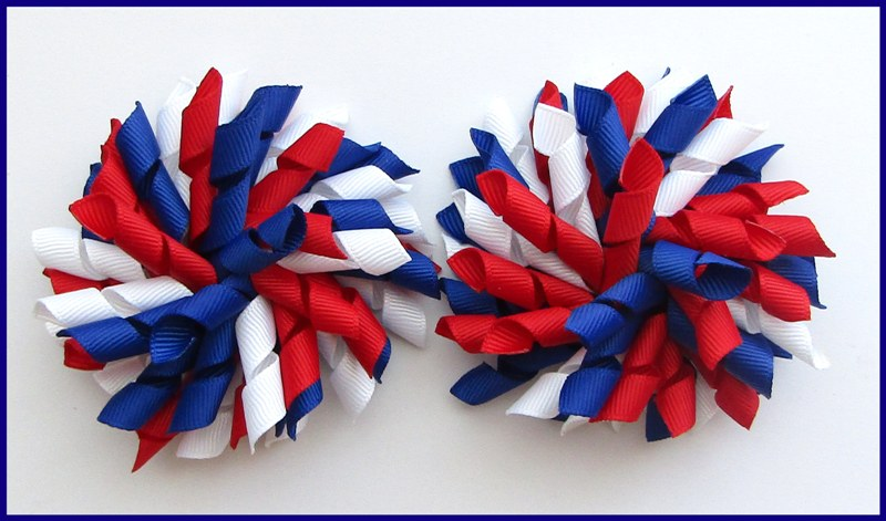 Dark Royal Blue Red White School Korker Hair Bows