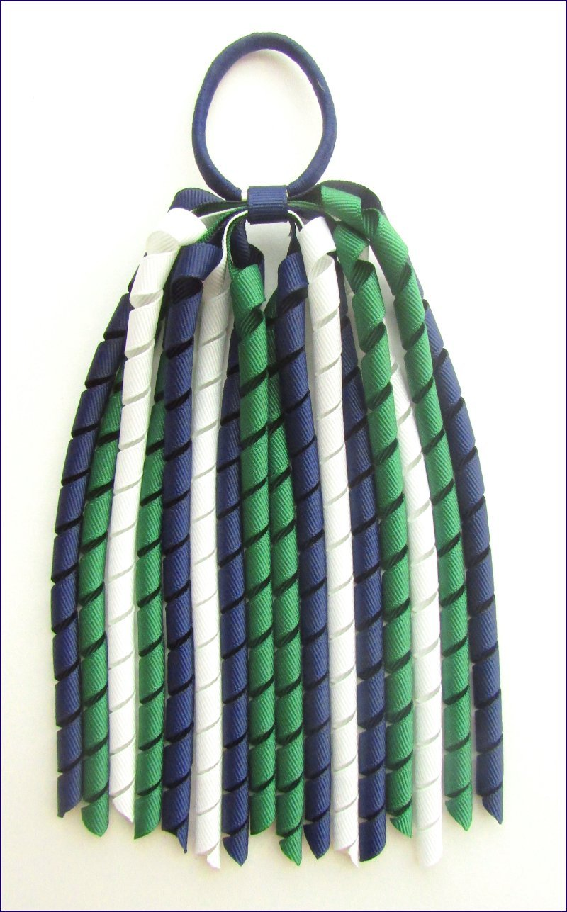 Navy Blue Dark Green  White Korker Ponytail Streamer