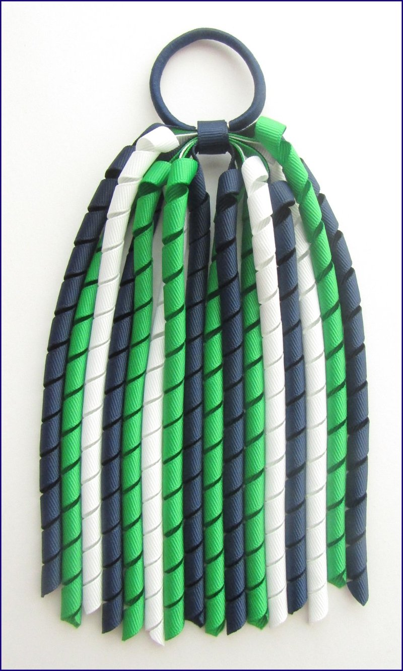 Navy Blue Emerald Green White Korker Ponytail Streamer