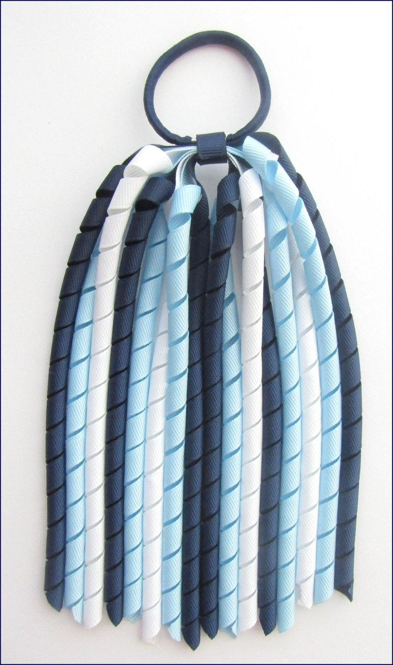 Navy Light Blue White Korker Ponytail Streamer