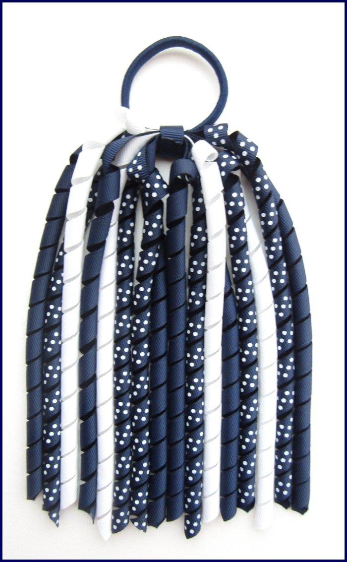 Navy Blue Polka Dot Korker Streamer