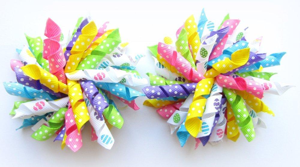 Bright Rainbow Dot Easter Egg Korker Hair Bows