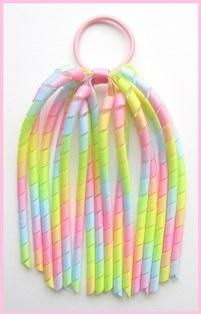 Pastel Rainbow Ombre Korker Ponytail Streamer