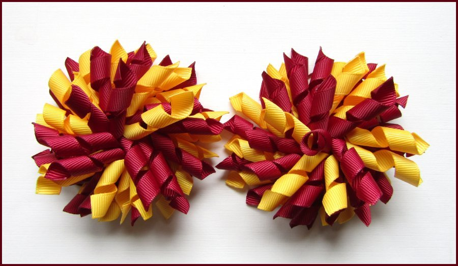 Burgundy Yellow Gold School Korker Hair Bows