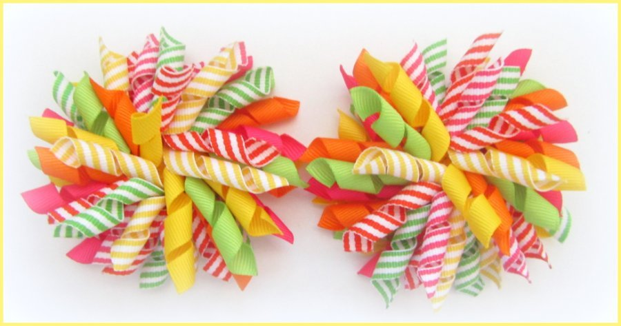 Bright Citrus Summer Stripe Korker Hair Bows