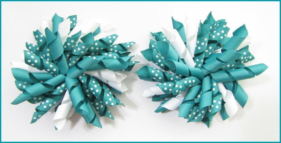 Jade Polka Dots Korker Hair Bows