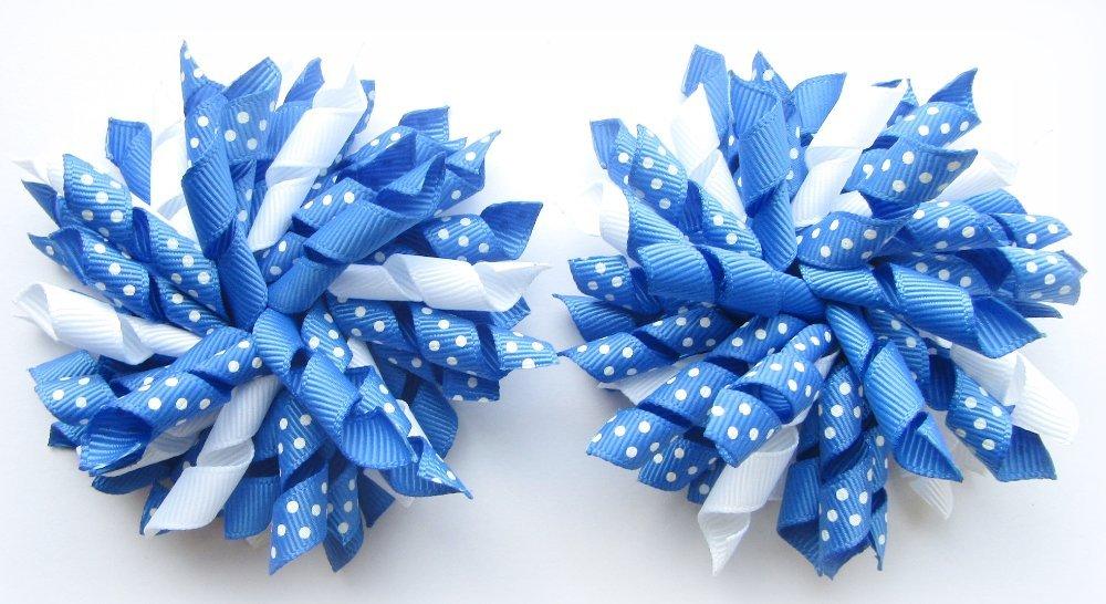 Light Royal Blue Polka Dots Korker Hair Bows