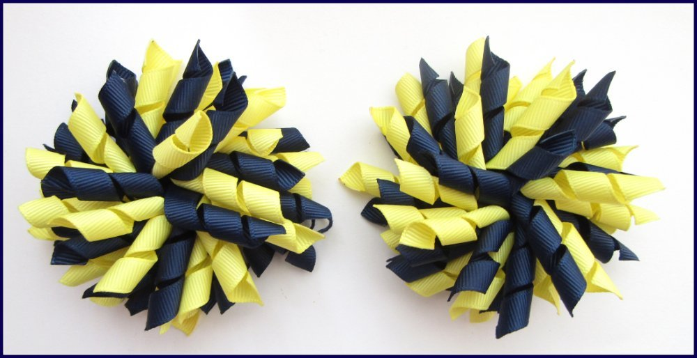 Navy Lemon School Korker Hair Bows