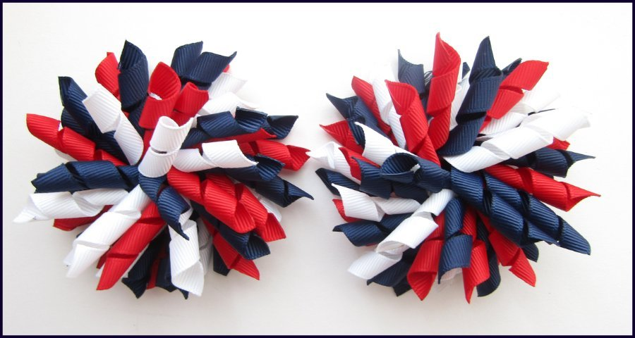 Navy Blue Red White School Korker Hair Bows