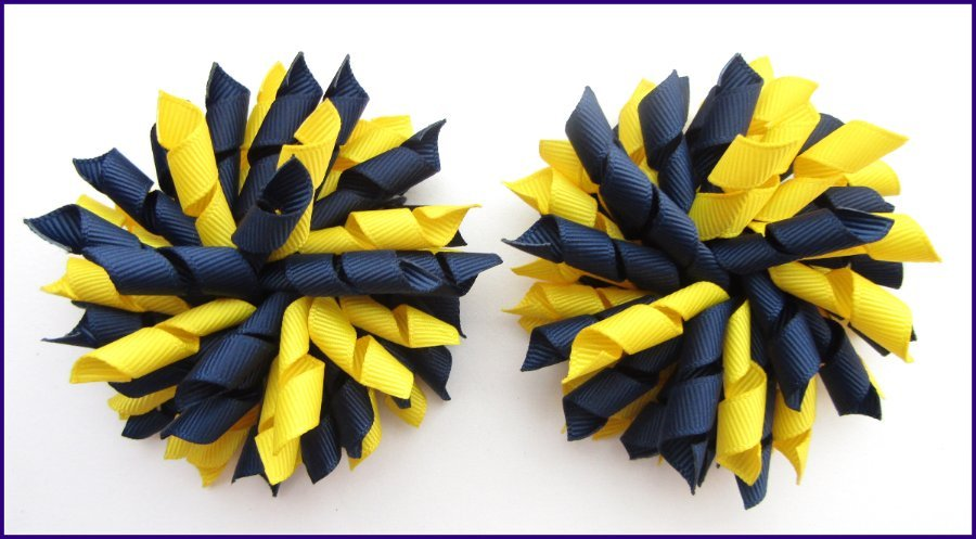 Navy Yellow School Korker Hair Bows