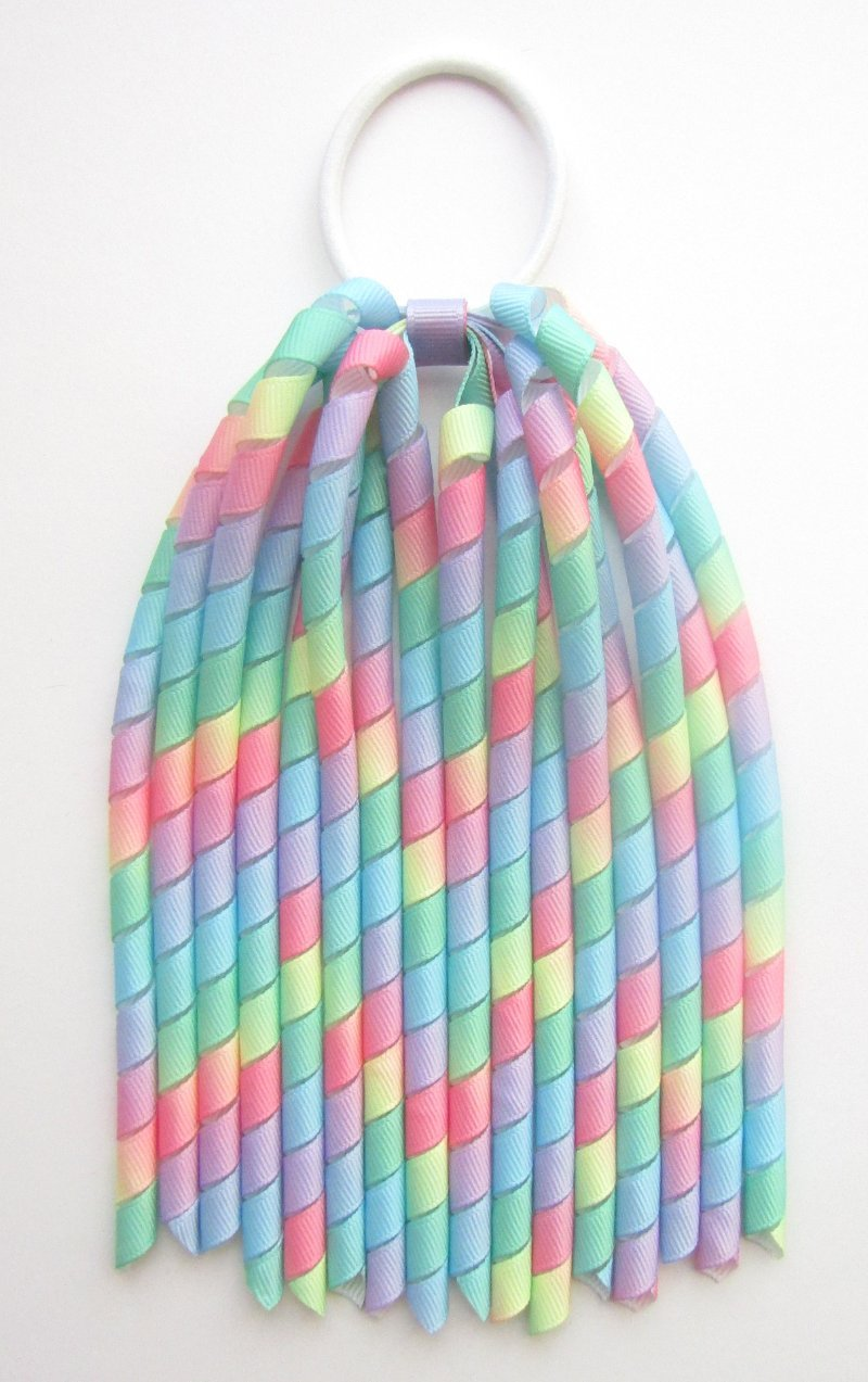 Pastel Rainbow Ombre Spring Easter Korker Hair Bows
