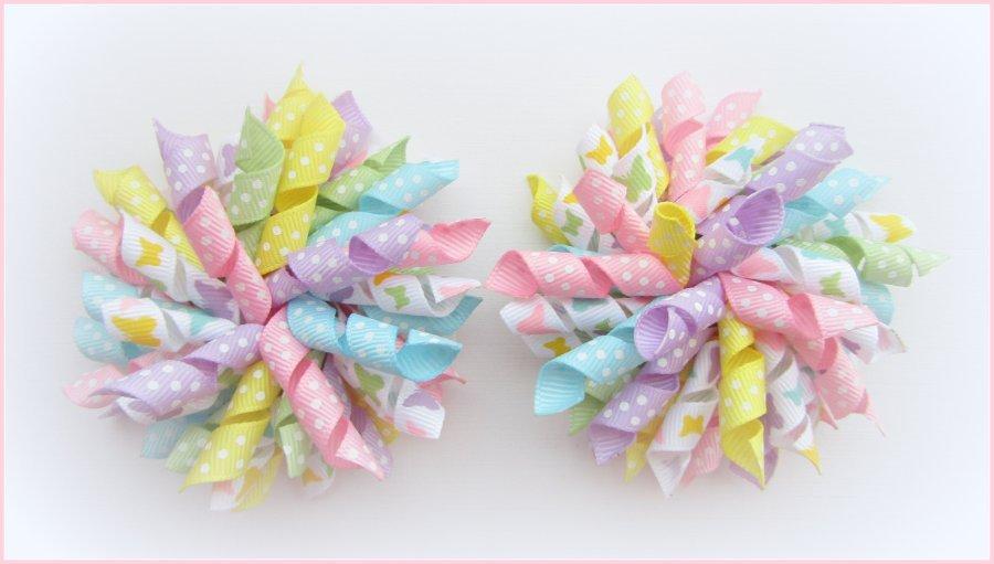 Pastel Butterfly Butterflies Korker Hair Bows