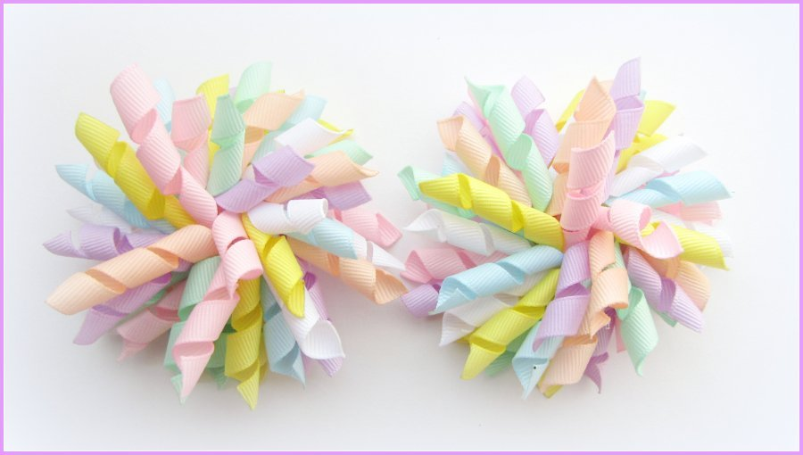 Plain Pastel Mix Korker Hair Bows