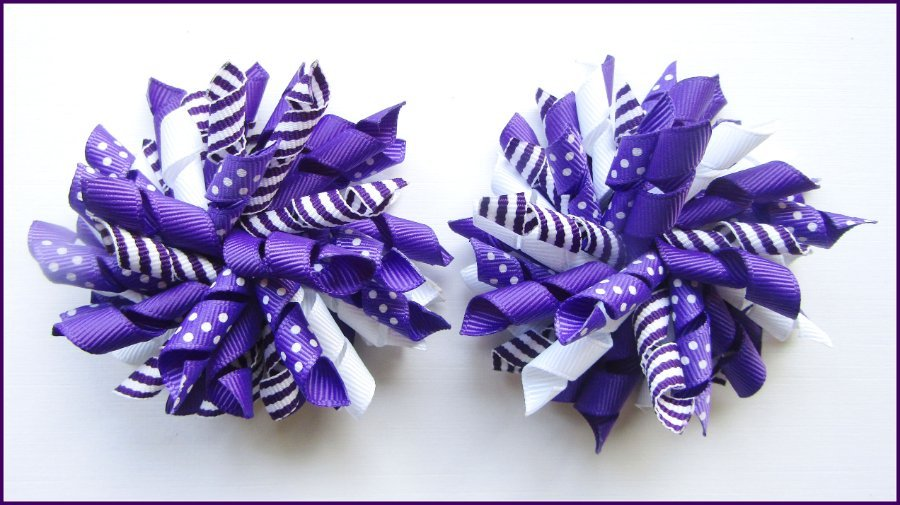 Dark Purple Dot Stripe Korker Hair Bows