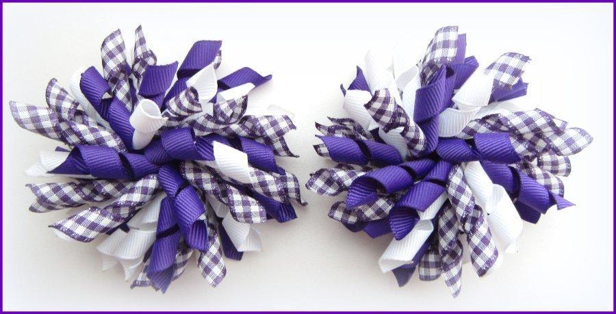 Purple Gingham Korker Hair Bows