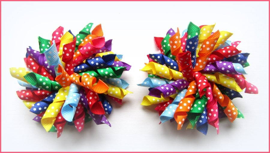 Rainbow Colours Polka Dot Korker Hair Bows