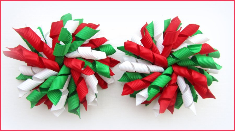 Red Emerald Green White Korker Hair Bows