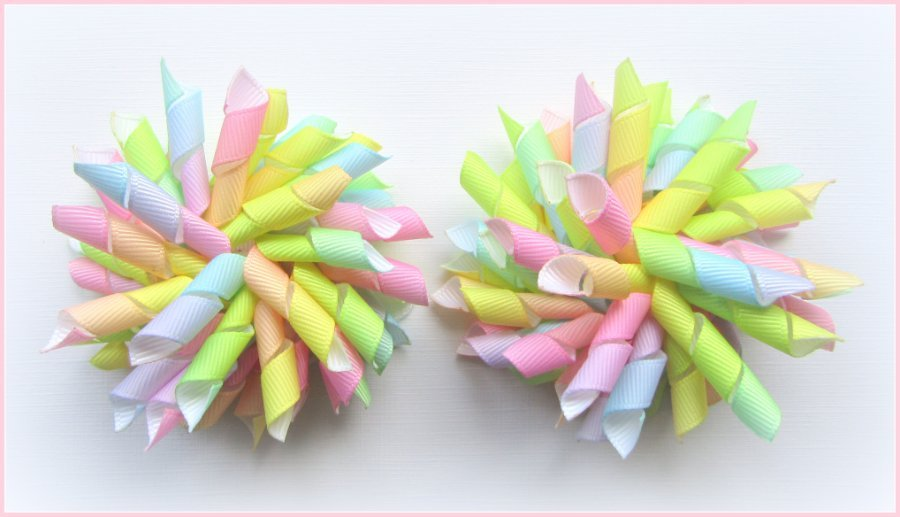Bright Pastel Rainbow Ombre Spring Easter Korker Hair Bows