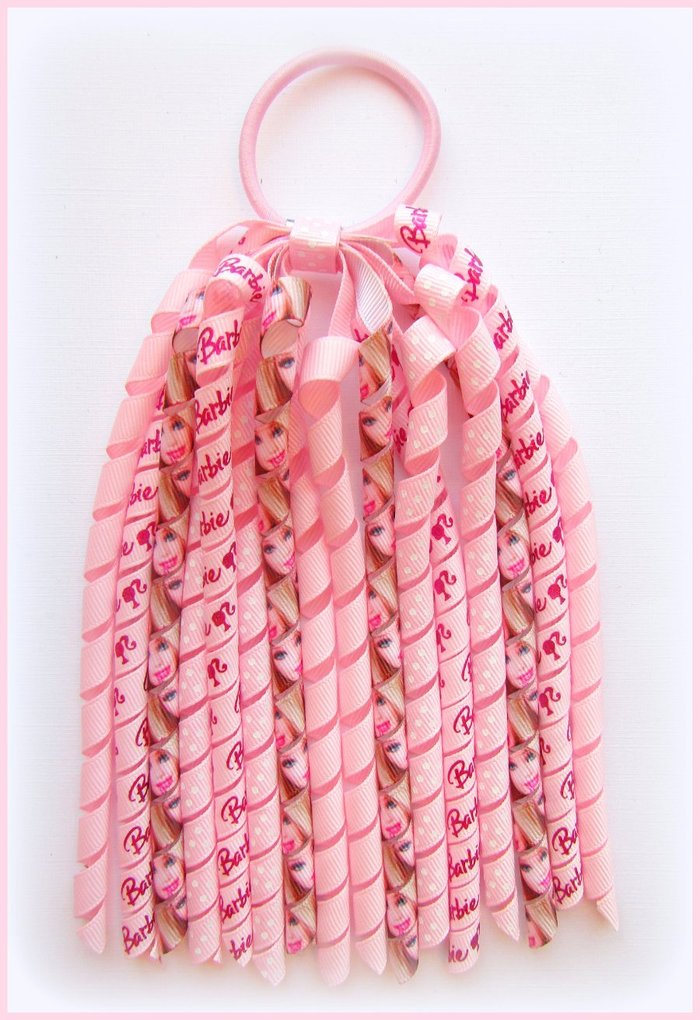 Pearl Pink Barbie Korker Ponytail Streamer
