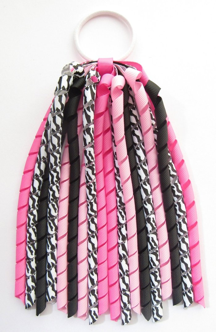 Hot Pink Black Zebra Korker Ponytail Streamer