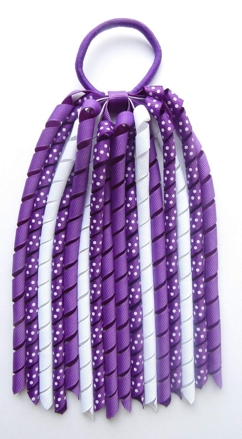 Bright Purple Polka Dot Korker Ponytail Streamer