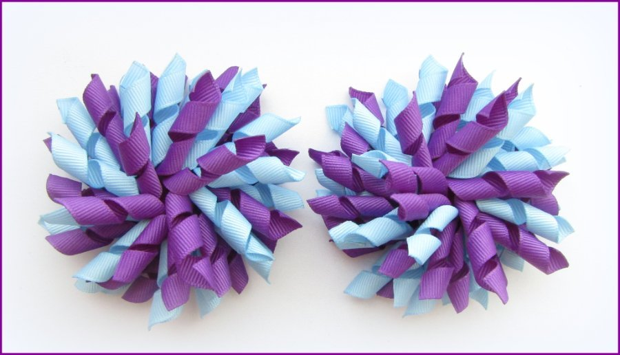 Purple & Light Blue Korker Hair Bows