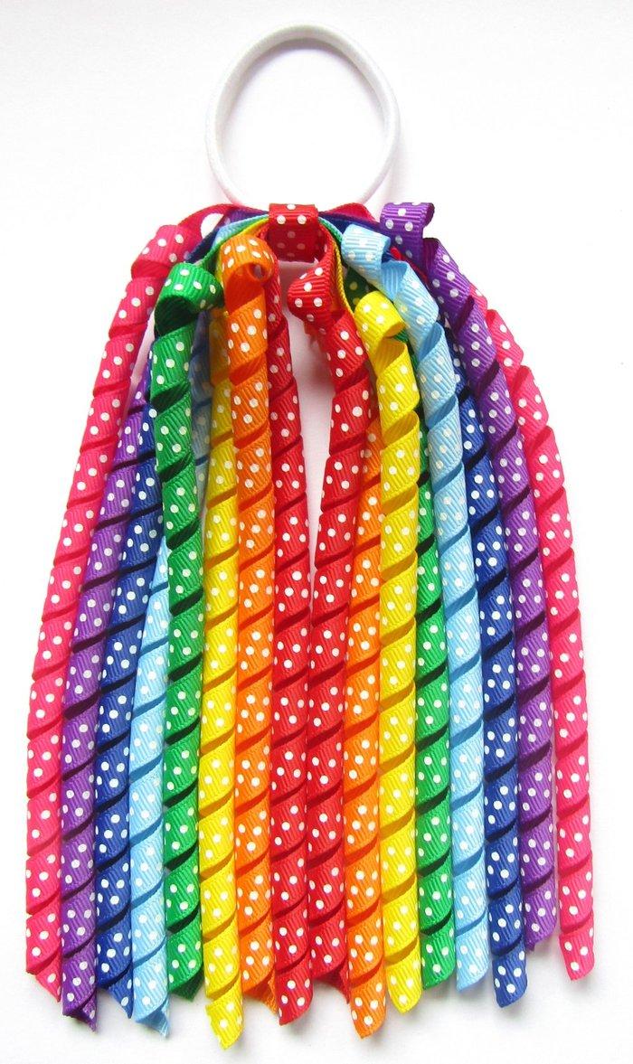 Rainbow Colours Dot Korker Ponytail Streamer