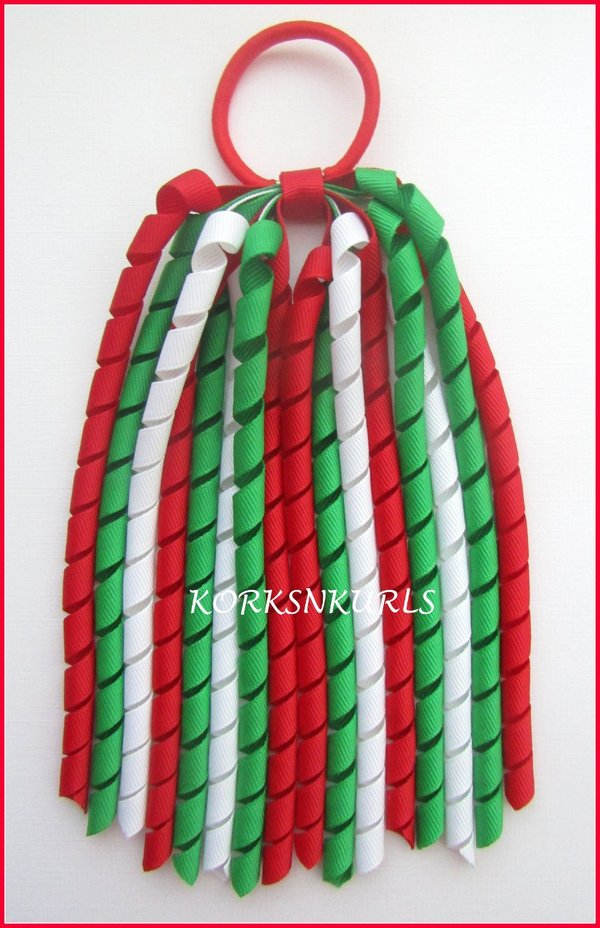 Red Emerald Green White Korker Ponytail Streamer