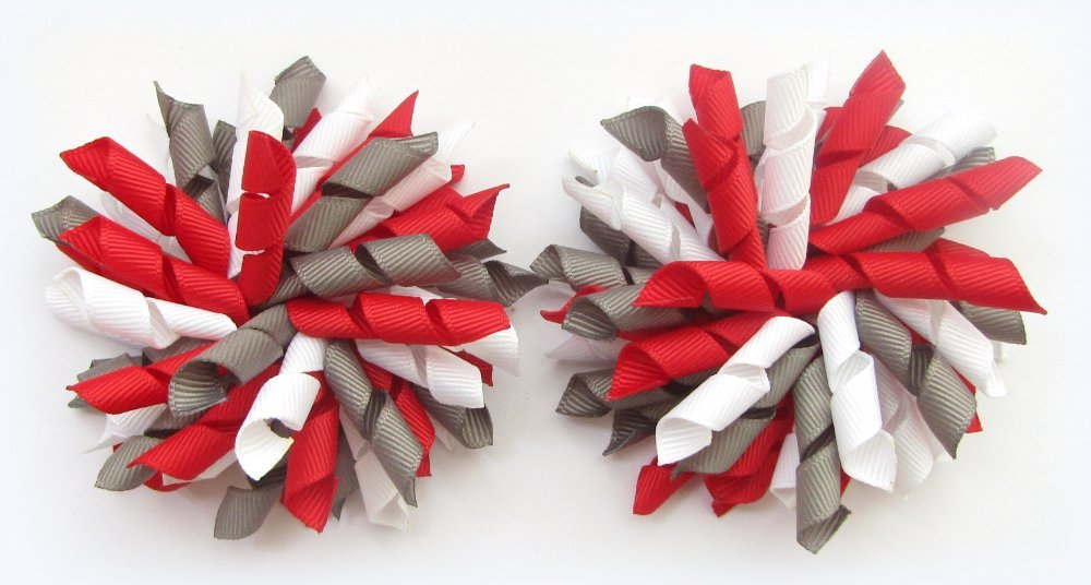Red Dark Grey White Korker Hair Bows