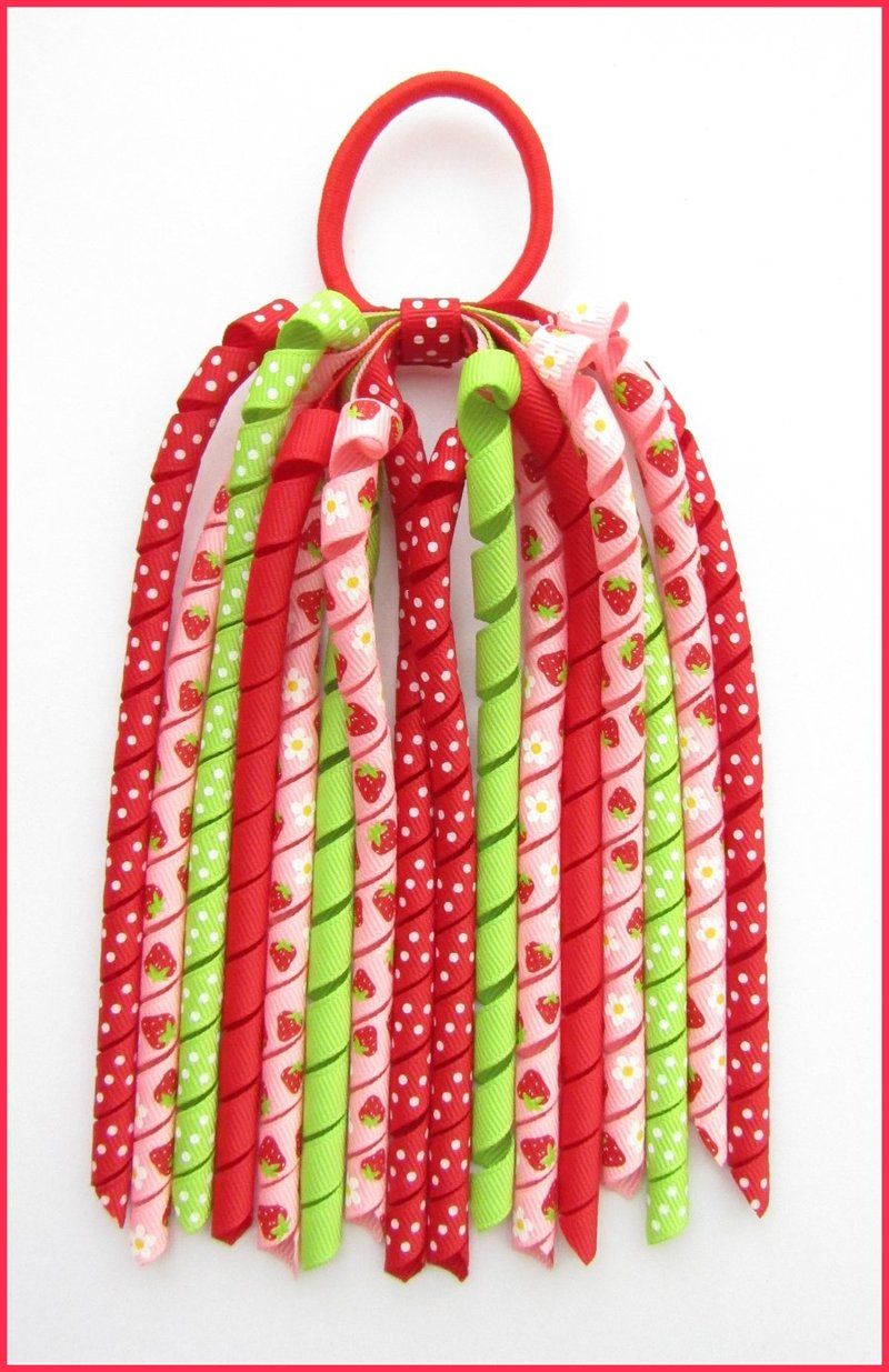 Red Pink Strawberry & Daisy Korker Ponytail Streamer