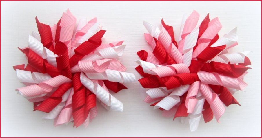 Red Rose Pink White Valentine Korker Hair Bows