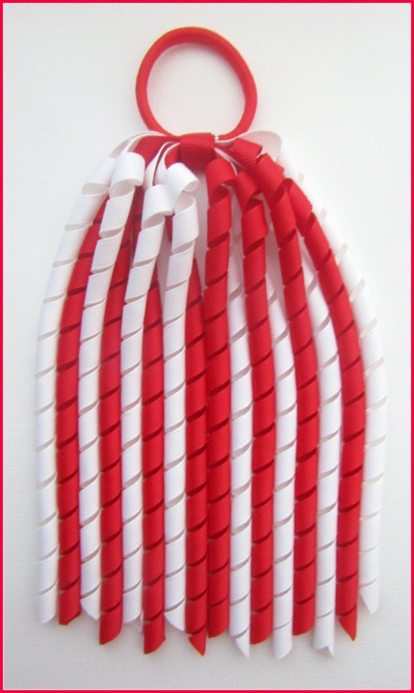 Red White Korker Ponytail Streamer
