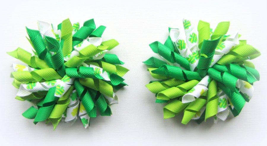 Shamrock Clover St Patrick's Day Korker Hair Bows