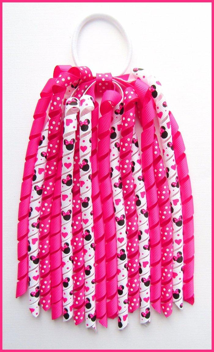 Bright Pink Dot Minnie Mouse Korker Ponytail Streamer