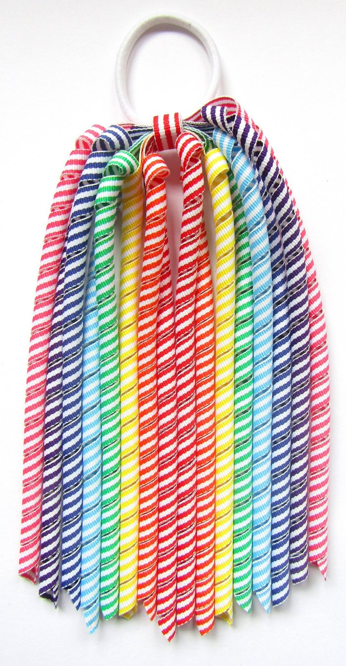 Rainbow Colours Stripe Korker Ponytail Streamer